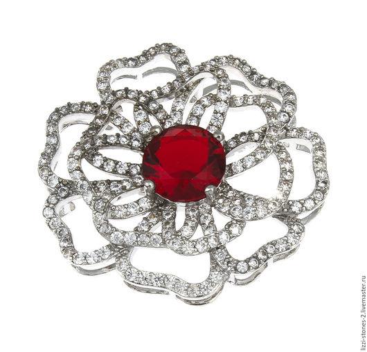 Коннектор Цветок красный крупный серебро (Milano) Евгения (Lizzi-stones-2)