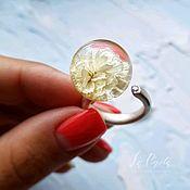 Кольца ручной работы. Ярмарка Мастеров - ручная работа Серебряное кольцо с Гипсофилой. Handmade.