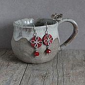 Украшения handmade. Livemaster - original item Leather earrings Dark red, Chocolate. Handmade.