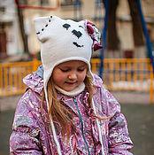"""Работы для детей, ручной работы. Ярмарка Мастеров - ручная работа Шапка вязаная """" Кэт """" для девочки , шапка-кошка , котошапка. Handmade."""