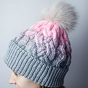 Аксессуары handmade. Livemaster - original item Knitted hat with gradient, with braids and fur pompom (Arctic Fox). Handmade.