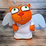 Куклы и игрушки handmade. Livemaster - original item Soft toy red cat angel with wings, plush cat. Handmade.
