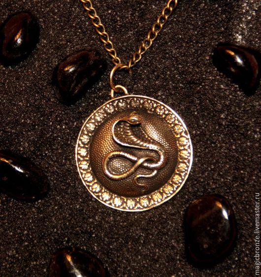 Кулоны, подвески ручной работы. Ярмарка Мастеров - ручная работа. Купить Кобра (Змея) : Бронзовый кулон с цепочкой. Handmade.