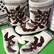 Boots handmade. Livemaster - original item Semi-valenoks, boots, boots sole, boots with embroidery. Handmade.