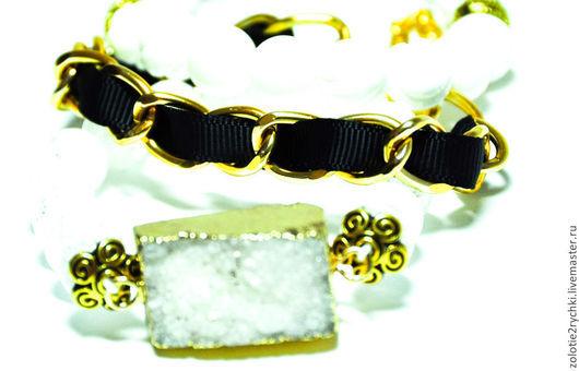 """Браслеты ручной работы. Ярмарка Мастеров - ручная работа. Купить Трио браслетов """"Зима"""". Handmade. Чёрно-белый, набор браслетов"""