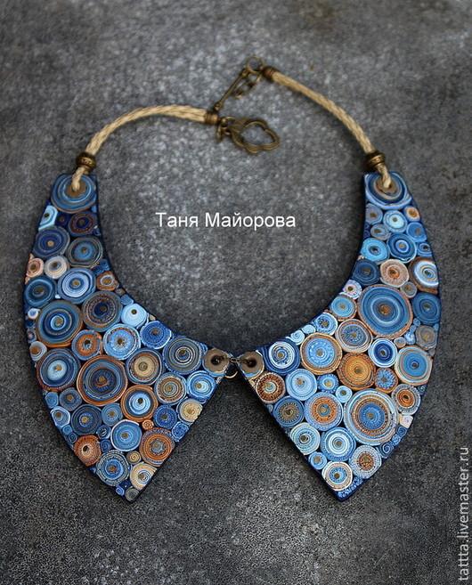 Колье, бусы ручной работы. Ярмарка Мастеров - ручная работа. Купить воротничок из полимерной глины волшебство в синих тонах. Handmade.
