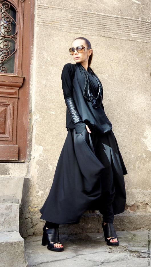 Свободные брюки юбка из поливискоза,свободный и стильный силуэт,брюки для вечеринки,мероприятия, ужина. Городской и экстравагантный стиль,