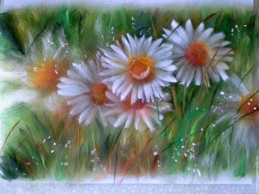 Картины цветов ручной работы. Ярмарка Мастеров - ручная работа. Купить Картина из шерсти Ромашки. Handmade. Зеленый, картина ромашек