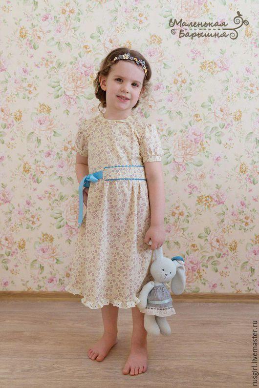 """Одежда для девочек, ручной работы. Ярмарка Мастеров - ручная работа. Купить Платье для девочки """"Дуняша""""+ украшение. Handmade. Желтый, нежность"""