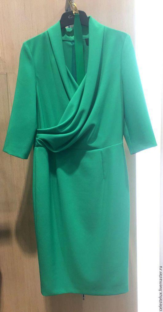 Платья ручной работы. Ярмарка Мастеров - ручная работа. Купить Alexis зеленое платье со складками на груди. Handmade.