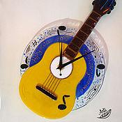 Для дома и интерьера ручной работы. Ярмарка Мастеров - ручная работа Часы Изгиб гитары желтой. Handmade.