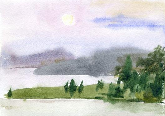 Пейзаж ручной работы. Ярмарка Мастеров - ручная работа. Купить Луна над озером. Handmade. Акварель, картина, озеро, акварель
