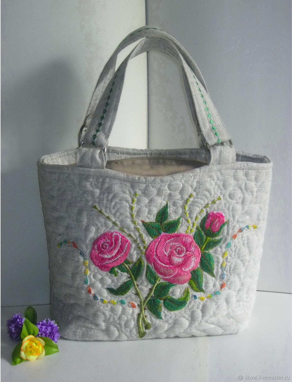 5378a699b3ab Женские сумки ручной работы. Ярмарка Мастеров - ручная работа. Купить  Розовый букет Льняная сумка ...