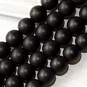 Бусины ручной работы. Ярмарка Мастеров - ручная работа Агат матовый черный 6 8 10 12 14 16мм шар - бусины камни для украшений. Handmade.