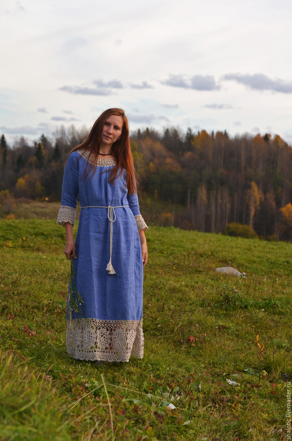 Linen dress handmade dress in the Russian style, dresses and tunics made of linen, Linen author Julia tale