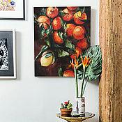 Картины и панно handmade. Livemaster - original item Tangerines and lemon, oil painting on canvas, still life with fruit. Handmade.