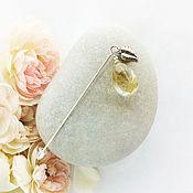 Украшения ручной работы. Ярмарка Мастеров - ручная работа Брошь «Солнечный лучик» золотистый рутиловый кварц-волосатик в серебре. Handmade.