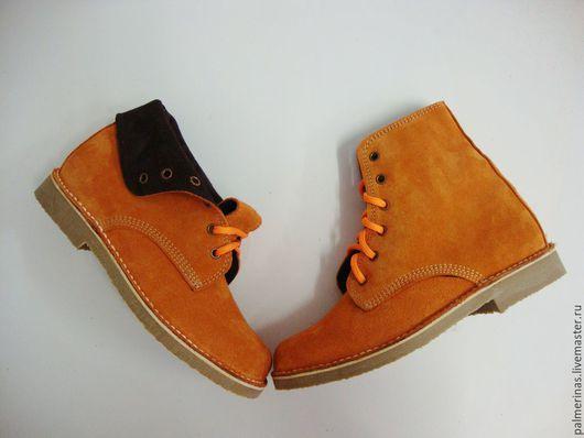 Обувь ручной работы. Ярмарка Мастеров - ручная работа. Купить Замшевые ботинки оранжевого цвета , высокие. Handmade. Оранжевый
