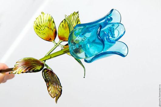 Подарки для влюбленных ручной работы. Ярмарка Мастеров - ручная работа. Купить Подарок девушке - стеклянная роза. Handmade. Роза из стекла