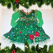 Работы для детей, ручной работы. Ярмарка Мастеров - ручная работа детское новогоднее платье ёлочка. Handmade.