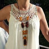 handmade. Livemaster - original item Amber beads long necklace of natural gemstones for women, girls. Handmade.
