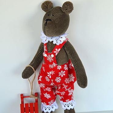 Куклы и игрушки ручной работы. Ярмарка Мастеров - ручная работа Новогодний мишка в стиле Тильда. Handmade.