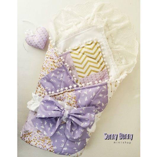 Для новорожденных, ручной работы. Ярмарка Мастеров - ручная работа. Купить Лоскутное одеяло - конверт Лаванда с бантом на резинке.. Handmade.