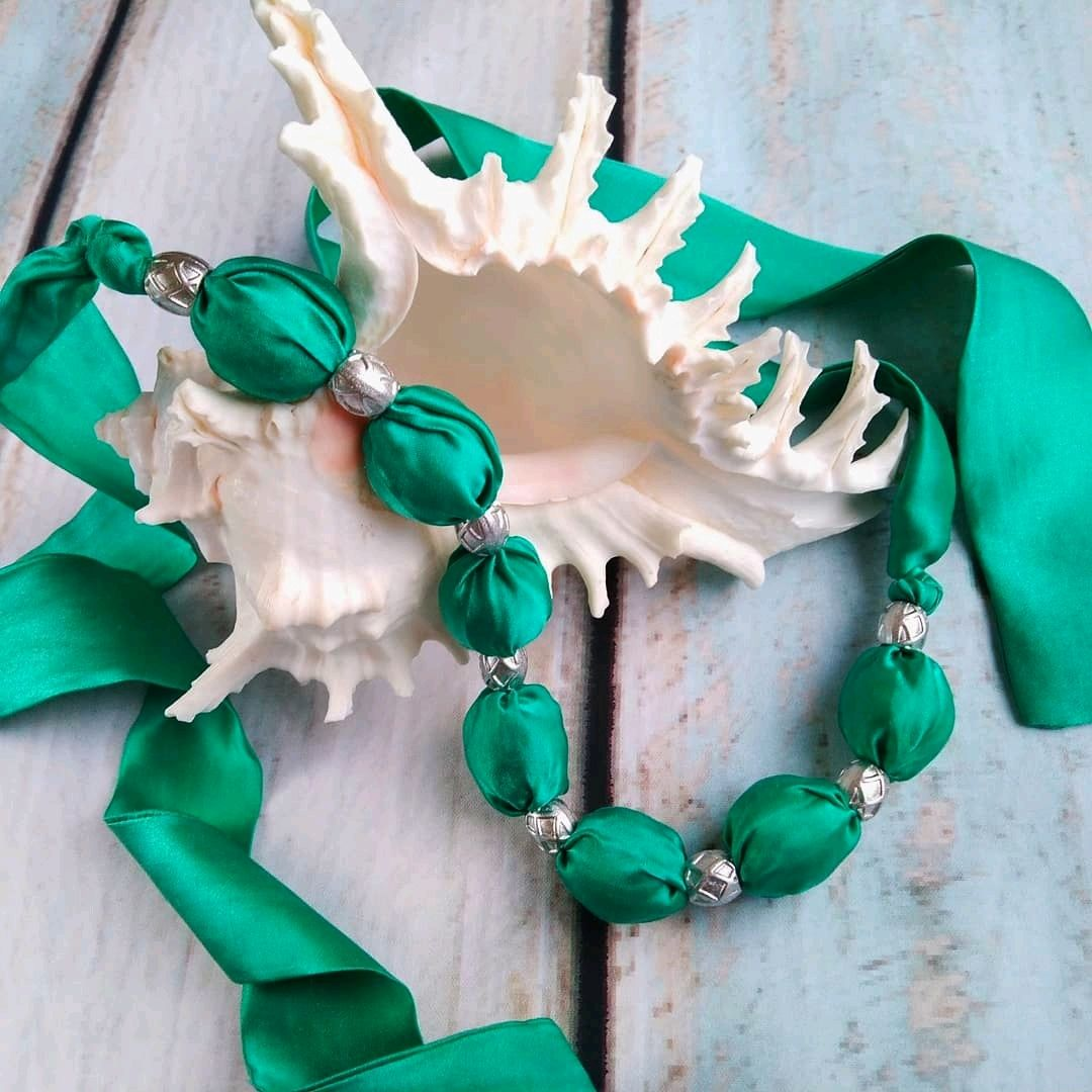 Silk beads Turquoise, Necklace, Moscow,  Фото №1