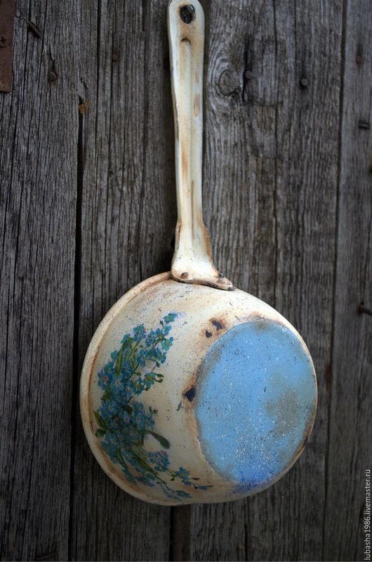 """Кухня ручной работы. Ярмарка Мастеров - ручная работа. Купить """"Голубые Незабудки"""" старинный ковш для дачи. Handmade. Бирюзовый, ковш"""