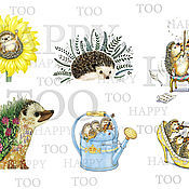 Материалы для творчества handmade. Livemaster - original item Termotransfer. hedgehog. Termoprint. Pictures for fabric. Decal.. Handmade.