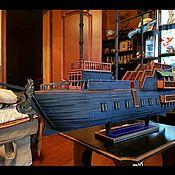 Дизайн ручной работы. Ярмарка Мастеров - ручная работа Корабль венецианский на подставке. Кропотливая работа. Паруса из шелка. Handmade.