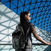 Рюкзаки ручной работы. Ярмарка Мастеров - ручная работа Городской кожаный рюкзак, Оригами Домик, женский черный рюкзак. Handmade.