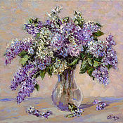 Картины и панно handmade. Livemaster - original item Oil painting on canvas flowers Delicate lilac, painting with flowers. Handmade.