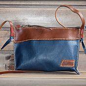 Классическая сумка ручной работы. Ярмарка Мастеров - ручная работа Сумочка из кожи растительного дубления - синий - рыжий -коричневый. Handmade.