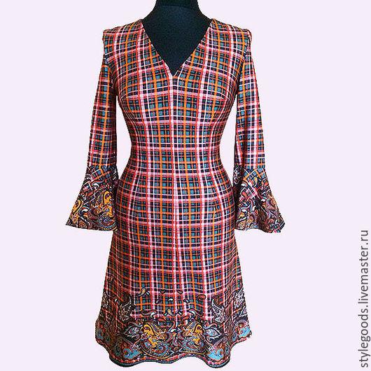 Платья ручной работы. Ярмарка Мастеров - ручная работа. Купить Красивое платье из итальянского трикотажа с рукавами - воланами. Handmade. Платье