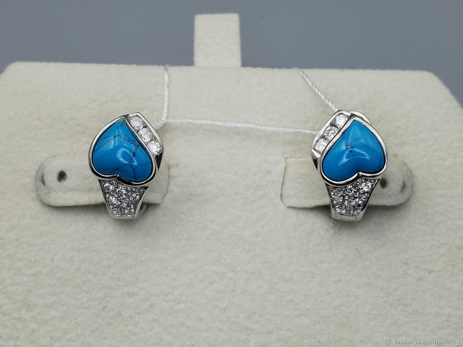 Silver earrings with turquoise 8h8 mm and cubic zirconia, Earrings, Moscow,  Фото №1