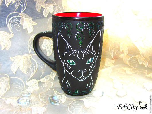 кошка породы сфинкс, кружка с портретом кошки