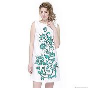 Одежда handmade. Livemaster - original item Linen dress with a pattern of