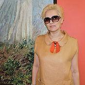 """Одежда ручной работы. Ярмарка Мастеров - ручная работа Летнее платье лён с шёлком  """"Карамель"""". Handmade."""