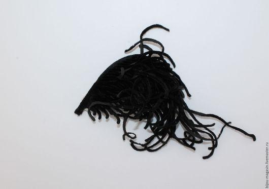 Аппликации, вставки, отделка ручной работы. Ярмарка Мастеров - ручная работа. Купить Винтажное перо декоративный элемент бархат, цвет черный. Handmade.