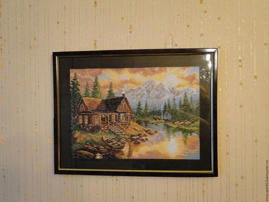 Пейзаж ручной работы. Ярмарка Мастеров - ручная работа. Купить Вечер в горах. Handmade. Пейзаж, озеро, Вышивка крестом, хлопок