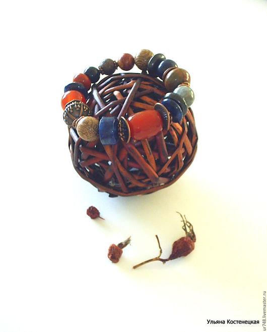 """Браслеты ручной работы. Ярмарка Мастеров - ручная работа. Купить Браслет """"Осенний чай с шиповником"""". Handmade. Рыжий, оригинальные браслеты"""