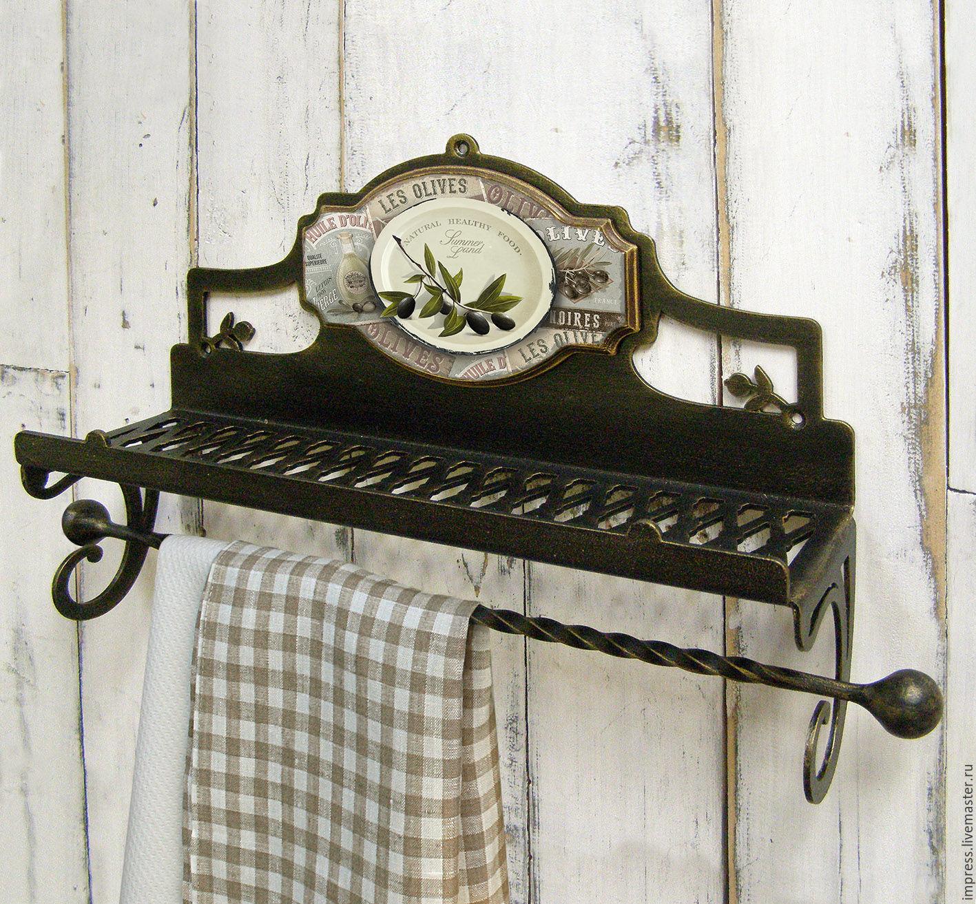 Полочка с держателем для рулонного и текстильного полотенца Олива, Вешалки, Тверь,  Фото №1