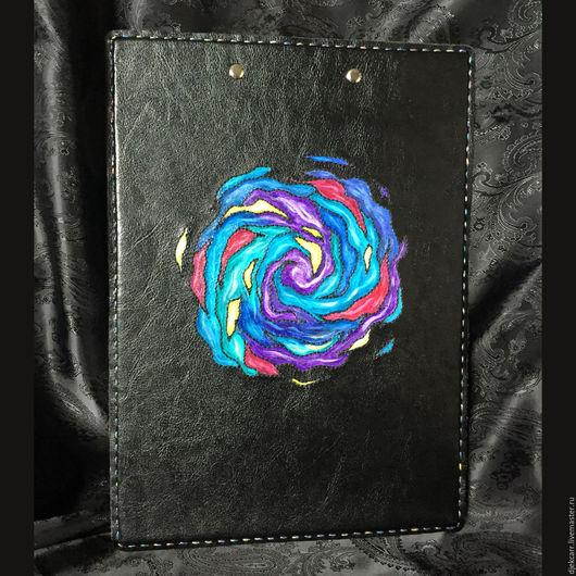 """Папки для бумаг ручной работы. Ярмарка Мастеров - ручная работа. Купить Планшет для бумаг """"Водоворот цвета"""", формат А4. Handmade."""