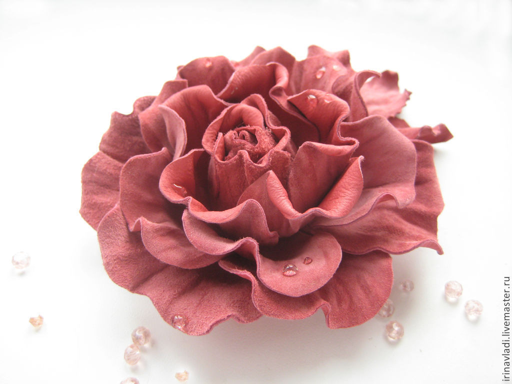 Leather flowers. Decoration brooch pin PINK ROSE – shop online on ...
