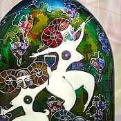 Посуда ручной работы. Ярмарка Мастеров - ручная работа Бутылка-штоф винтажная Праздник Урожая, витражная роспись. Handmade.