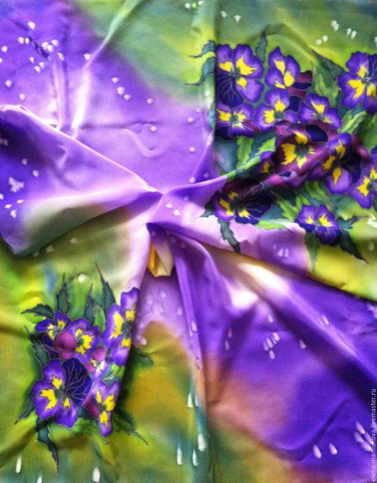 Шали, палантины ручной работы. Ярмарка Мастеров - ручная работа. Купить Шелковый платок Анютины глазки. Handmade. Разноцветный, платок