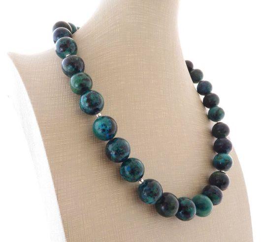 Колье, бусы ручной работы. Ярмарка Мастеров - ручная работа. Купить Ожерелье из натуральной хризоколлы в серебре 925 пробы. Handmade.
