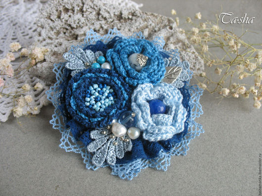 """Броши ручной работы. Ярмарка Мастеров - ручная работа. Купить """"Океания"""" бохо брошь синий голубой цветок. Handmade. Брошь"""