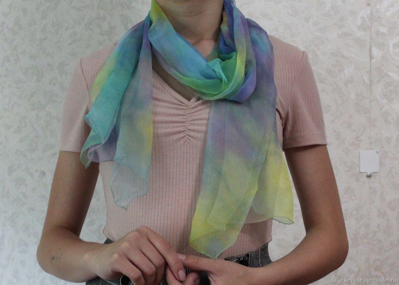 Summer silk scarf,45h160cm, hand painted, Scarves, Novosibirsk,  Фото №1